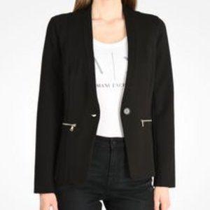 ARMANI Jeans Silvertone Zipper Pocket Black Ponte Button Blazer